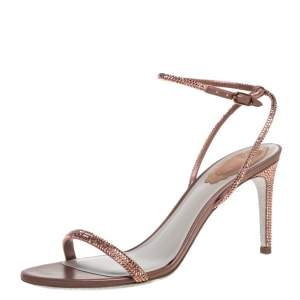 René Caovilla Brown Satin Ellabrita Crystal Embellished Ankle Strap Sandals Size 38