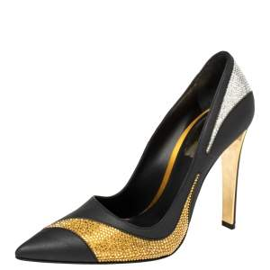 René Caovilla Black Satin And Leather Crystal Embellished Pumps Size 38