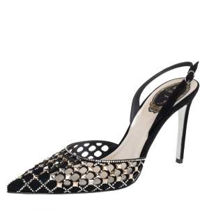 René Caovilla Black Suede Peonia Slingback Sandals Size 37