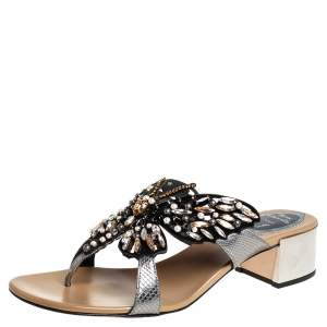 René Caovilla Two Tone Suede And Python Embossed Leather Embellished Butterfly Thong Sandals Size 39