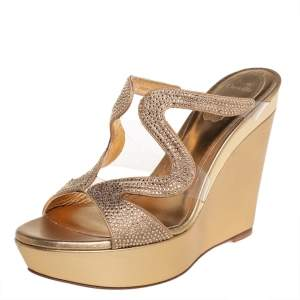 René Caovilla Gold Leather And PVC Embellished Sandals Size 38.5