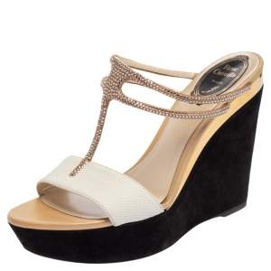 René Caovilla White Karung Crystal Embellished T-Strap Wedge Sandals Size 38.5