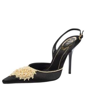 René Caovilla Black Satin Faux Pearl Embellished Slingback Pointed Toe Pumps Size 37.5