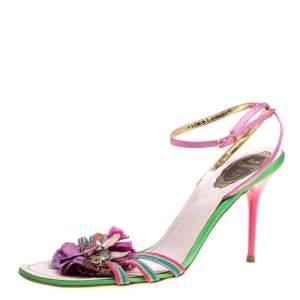 René Caovilla Multicolor Satin Crystal Flower Embellished Ankle Strap Sandals Size 41