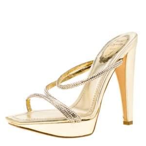 René Caovilla Metallic Gold Crystal Embellished Leather Cross Strap Platform Sandals Size 36