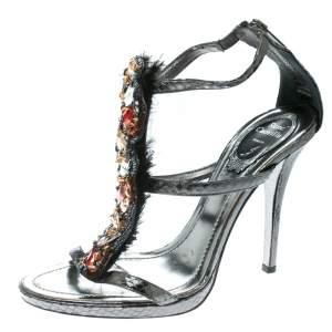 René Caovilla Grey Embossed Python Leather Crystal Embellished Strappy Sandals Size 38
