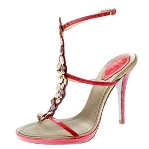 René Caovilla Red Embossed Python Leather Crystal Embellished Ankle Strap Sandals Size 38.5