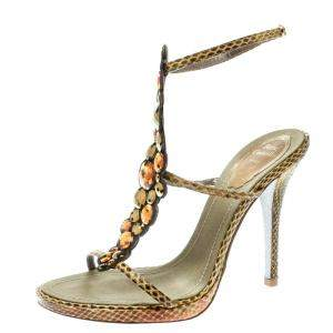 René Caovilla Yellow Embossed Python Leather Crystal Embellished Strappy Sandals Size 37.5