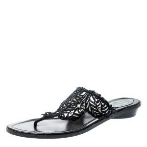 Rene Caovilla Black Crystal Embellished Lace And Leather Flat Thong Sandals Size 39