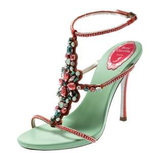 René Caovilla Orange Satin And Suede Crystal Embellished Ankle Strap Sandals Size 38