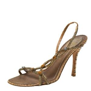 Rene Caovilla Yellow Satin Crystal Embellished Slingback Sandals Size 37.5