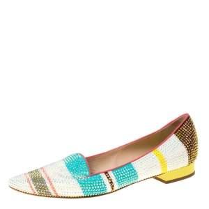 René Caovilla Multicolor Crystal Embellished Slip On Flats Size 38.5