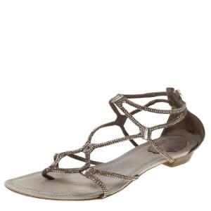 René Caovilla Dark Beige Crystal Embellished Leather Gladiator Flat Sandals Size 40