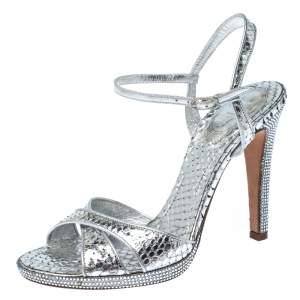 Rene Caovilla Silver Crystal Embellished Snakeskin Open Toe Crisscross Ankle Strap Sandals Size 38