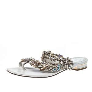 Rene Caovilla White Leather Crystal Embellished Slides Sandals Size 36