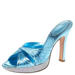 René Caovilla Metallic Blue Crystal Embellished Python Embossed Leather Knot Platfrom Sandals Size 38