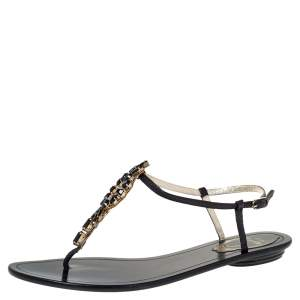 René Caovilla Black Leather Crystal Embellished Flat Ankle Strap Thong Sandals Size 37.5