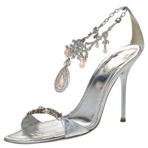 René Caovilla Metallic Silver Leather Embellished Anklet Open Toe Sandals Size 40