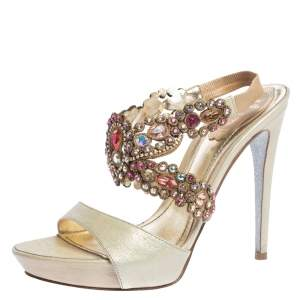 René Caovilla Beige Leather Crystal Embellished Platform Ankle Strap Sandals Size 37