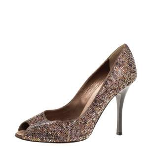 René Caovilla Brown Satin Multicolor Crystal Embellished Peep Toe Pumps Size 38