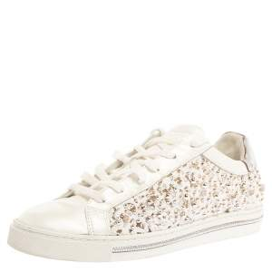 Rene Caovilla White Leather And Floral Lace Embellished Lace Up Sneakers Size 38