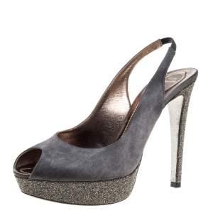 Rene Caovilla Grey Satin Peep Toe Slingback Platform Sandals Size 40.5