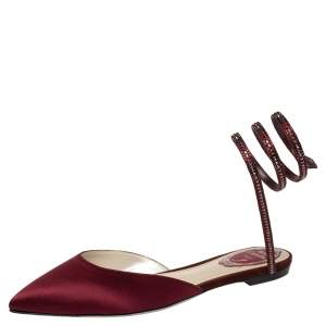 René Caovilla Burgundy Satin Crystal Embellished Ankle Wrap Pointed Toe Flats Size 37