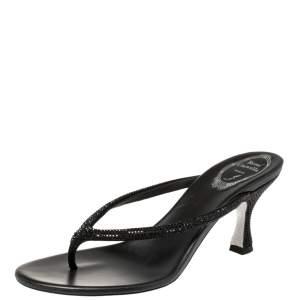René Caovilla Black Satin Crystal Embellished Thong Sandals Size 38