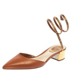 Rene Caovilla Light Brown Cleo Crystal-Embellished Sandals Size 37