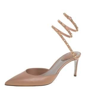 René Caovilla Beige Leather Crystal Embellished Ankle Wrap Sandals Size 39