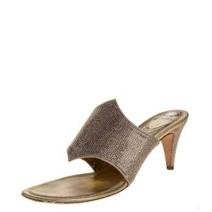 Rene Caovilla Metallic Gold Satin Crystal Embellished Slide Sandals Size 38