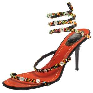 René Caovilla Orange/Black Satin  Embellished Ankle Wrap Sandals Size 39.5