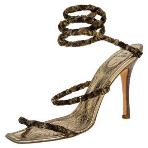 René Caovilla Gold/Brown Fabric And Leather Crystal Embellishment Cleo Spiral Sandals Size 40