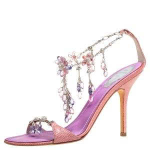 René Caovilla Pink/Purple Lizard Embossed Leather Floral Embellished Anklet Sandals Size 39