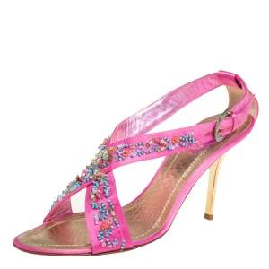 René Caovilla Pink Satin Embellished Criss Cross Sandals Size 38.5
