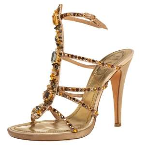 René Caovilla Gold Leather Crystal Embellished Ankle Strap Sandals Size 39