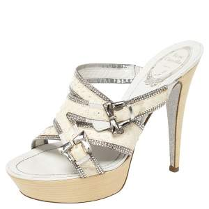 Rene Caovilla Off White Python Leather Crystal Embellishment Platform Slide Sandals Size 38