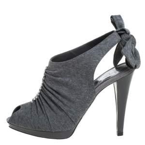 René Caovilla Grey Fabric Crystal Embellished Ankle Tie Slingback Sandals Size 38