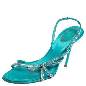 René Caovilla Blue Satin Crystal Embellished Strappy Slingback Sandals Size 38.5