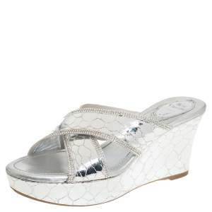 Rene Caovilla Metallic Silver Textured Leather Wedge Platform Slide Sandals Size 37
