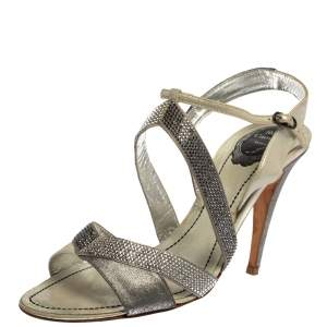 René Caovilla Silver/Grey Embellished Satin And Glitter Nubuck Leather Ankle Strap Sandals Size 39.5