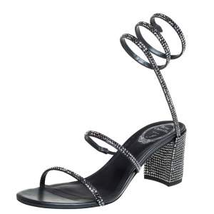 René Caovilla Metallic Dark Grey Crystal Embellished Ankle Wrap Sandals Size 39