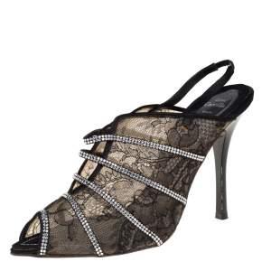 Rene Caovilla Black Lace Crystal Embellished Peep Toe Sandals Size 38