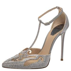 René Caovilla Grey Leather  And Mesh Embellishment T Strap Pumps Size 39