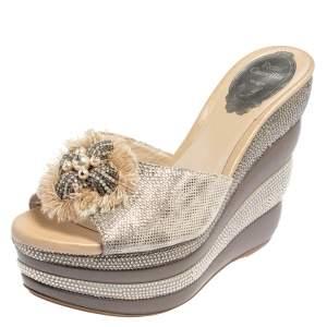 René Caovilla Silver Textured Leather Embellished Wedge Platform Slide Sandals Size 36