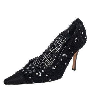 René Caovilla Black Lace And Canvas Crystal Embellished Pumps Size 40