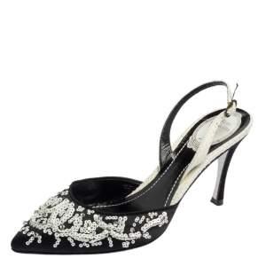 René Caovilla Black Satin And Python Sequin Embellished Pointed Toe Slingback Sandals Size 38.5