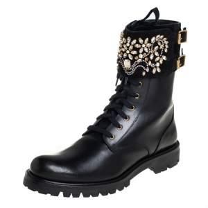 حذاء بوت رينيه كوفيلا كومبات سويدي مزخرف بالكريستال وجلد أسود مقاس 40