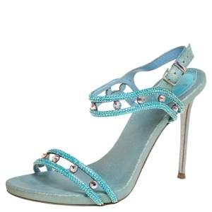 René Caovilla Metallic Blue Leather Crystal Embellished Ankle Strap Sandals Size 37