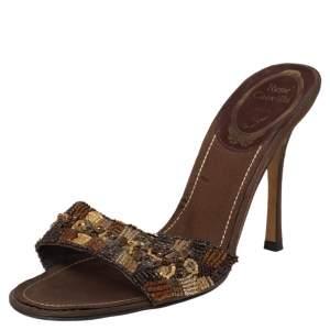 René Caovilla Brown Leather Embellished Slide Sandals Size 38